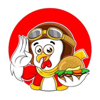 Simpatico personaggio mascotte di pollo che tiene hamburger mentre saluta