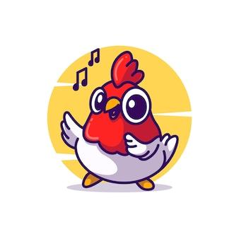 Simpatico pollo mascotte illustrazione vettoriale icona del fumetto