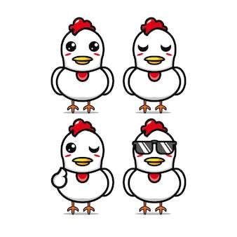 Collezione di set di pollo carino illustrazione vettoriale personaggio mascotte pollo stile piatto cartoon