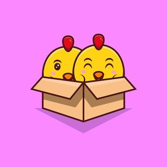 Illustrazione dell'icona del fumetto della scatola di cartone interna dei polli svegli