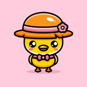 Simpatici pulcini che indossano cappelli di paglia
