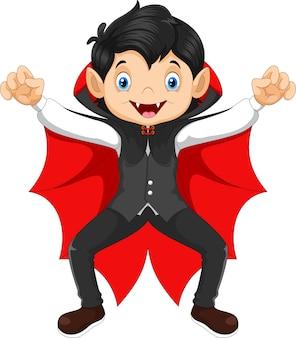 Bambino carino in un costume da vampiro di halloween