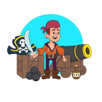 Bambino carino in un costume da pirata in un ambiente pirata. illustrazione.