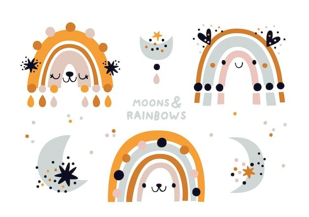 Simpatici arcobaleni boho infantili e lune crescenti. illustrazione dell'acquazzone di bambino