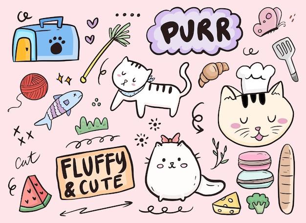 Fumetto infantile sveglio della raccolta del disegno del gatto di scarabocchio Vettore Premium