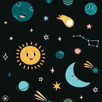 Simpatico motivo infantile stampa per bambini senza cuciture con sun moon