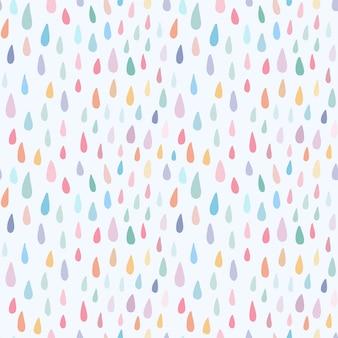 Gocce di pioggia variopinte dell'acquerello del reticolo senza giunte infantile carino sfondo dolce per la scuola materna del bambino