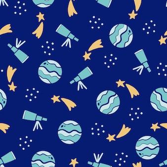Carino modello infantile senza cuciture di elementi spaziali, pianeta, stella, telescopio. stile bambini disegnati a mano.