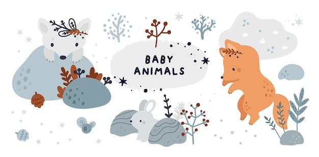 Simpatico set infantile con cuccioli di animali della foresta