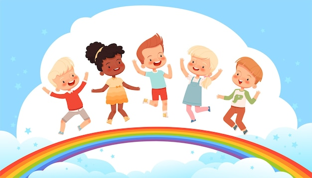 I bambini carini stanno saltando su un arcobaleno tra le nuvole. poster su un'infanzia felice, amicizia e gioia. sfondo fata per bambini luminosi. piatto del fumetto