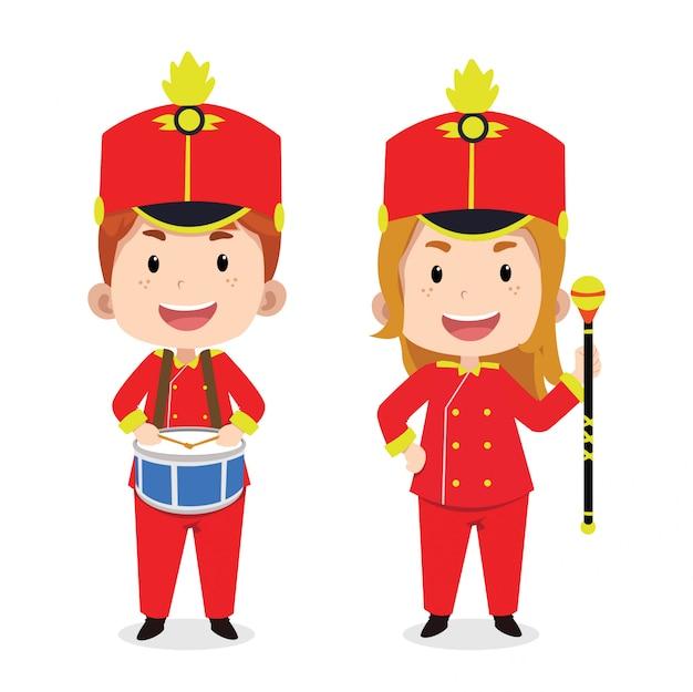 Simpatici personaggi per bambini marching band