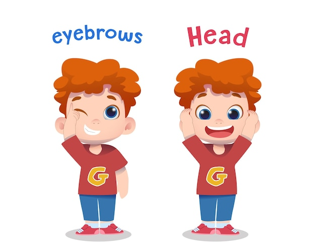 Simpatici personaggi per bambini che puntano le sopracciglia e la testa