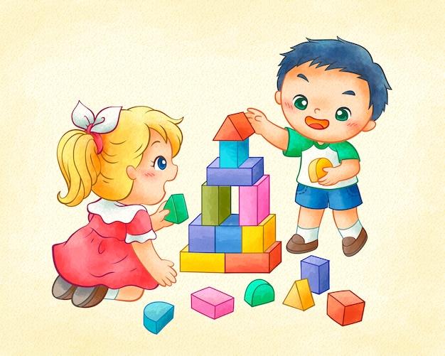 Bambini svegli che giocano blocchi colorati in linea arte