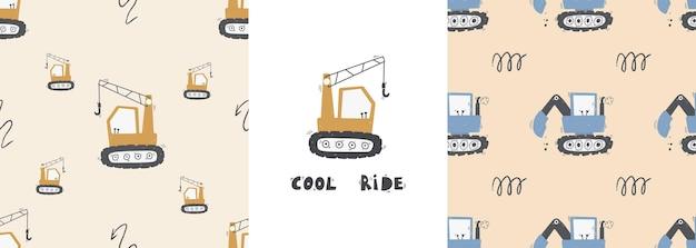 Modello senza cuciture per bambini carino con camion e scavatrici in stile scandinavo su sfondo bianco. attrezzature per l'edilizia. trasporto di costruzione divertente