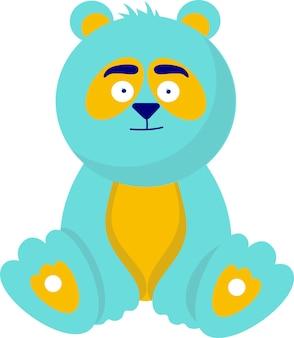 Simpatico giocattolo per bambini, orsacchiotto, panda. stile cartone animato piatto, su sfondo bianco.