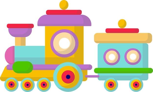 Simpatico giocattolo per bambini, treno. sviluppo del bambino. stile cartone animato piatto, su sfondo bianco. giochi.