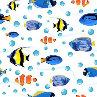 Fondo subacqueo dei bambini svegli. reticolo senza giunte del pesce sottomarino con le bolle. modello di pesce per tessuto o copertine di libri, sfondi, design, arte grafica, confezionamento