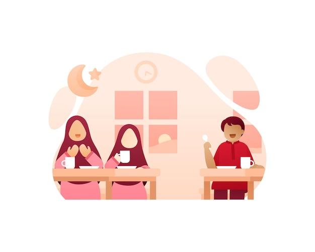 Bambini carini mangiano insieme dopo aver digiunato durante il ramadan illustrazione