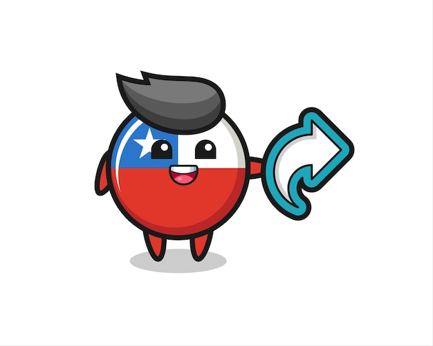 Il simpatico distintivo della bandiera del cile contiene il simbolo della condivisione dei social media, il design in stile carino per la maglietta, l'adesivo, l'elemento del logo