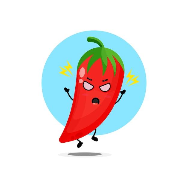 Il simpatico personaggio di peperoncino è arrabbiato