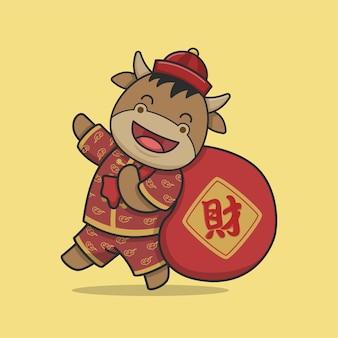 Simpatico bue cinese del nuovo anno che tiene il sacchetto dei soldi
