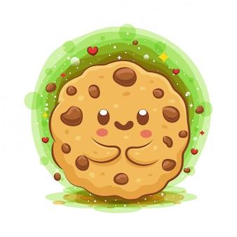 Simpatico personaggio dei cartoni animati di kawaii choco chip cookies