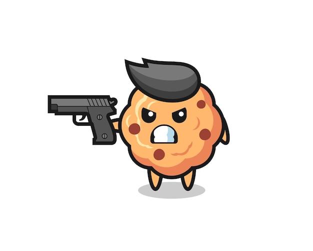 Il simpatico personaggio di biscotto con gocce di cioccolato spara con una pistola, un design in stile carino per maglietta, adesivo, elemento logo