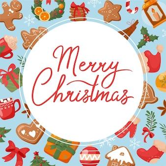 Simpatico banner natalizio in stile cartone animato
