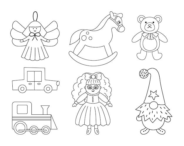 Simpatica collezione di giocattoli di natale in bianco e nero regali di capodanno vettoriali per bambini regali di babbo natale