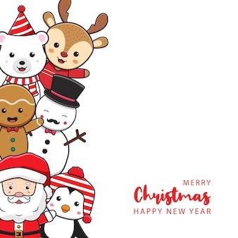 Simpatico personaggio di natale saluto buon natale felice anno nuovo cartone animato doodle card background