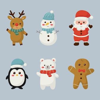 Set di elementi di simpatici personaggi natalizi isolati su sfondo blu