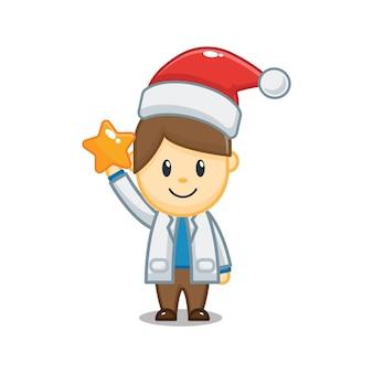 Simpatico dottore natalizio con stella