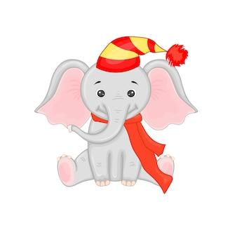 Simpatico elefante di natale. fumetto illustrazione vettoriale. eps