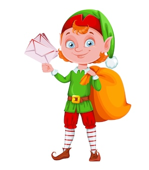 Simpatico personaggio dei cartoni animati di elfo di natale