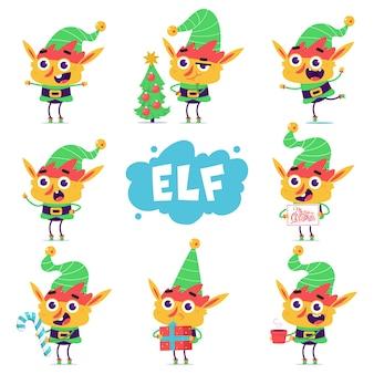 Set di personaggi dei cartoni animati carino elfo di natale