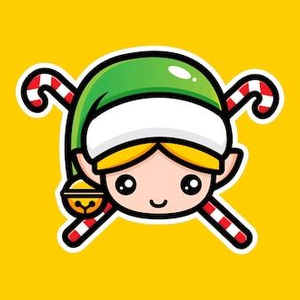 Simpatico design del personaggio degli elfi di natale