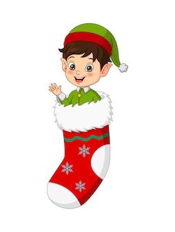 Simpatico elfo di natale con calza di natale