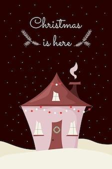 Carina casa di natale con ghirlanda di capodanno e decorazione di ghirlande scena notturna innevata biglietto di auguri