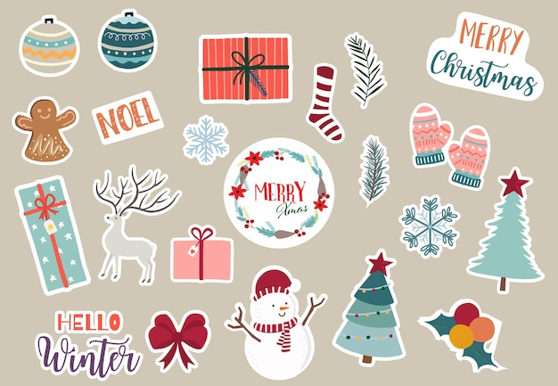 Simpatica collezione di oggetti natalizi con babbo natale, albero di natale, renne, regali, fiocco di neve