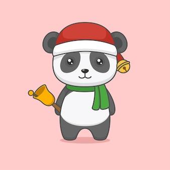 Simpatico panda di natale che tiene la campana