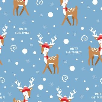 Simpatico motivo natalizio con cervi. cervo in cappello e sciarpa.