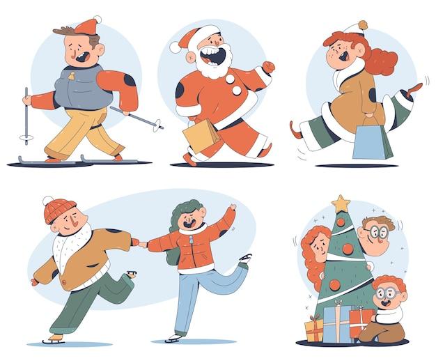 Simpatici personaggi natalizi in diverse azioni isolate su uno sfondo bianco.