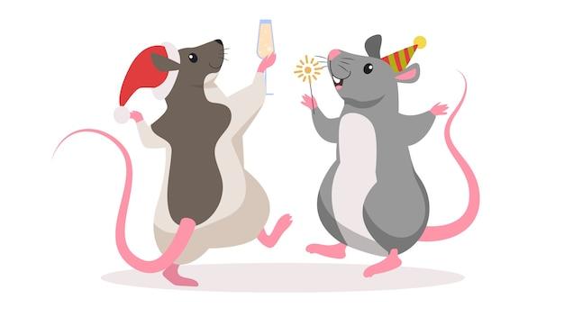 Ratto di natale carino. carattere animale in cappello di babbo natale. 2020 anno del topo. illustrazione in stile