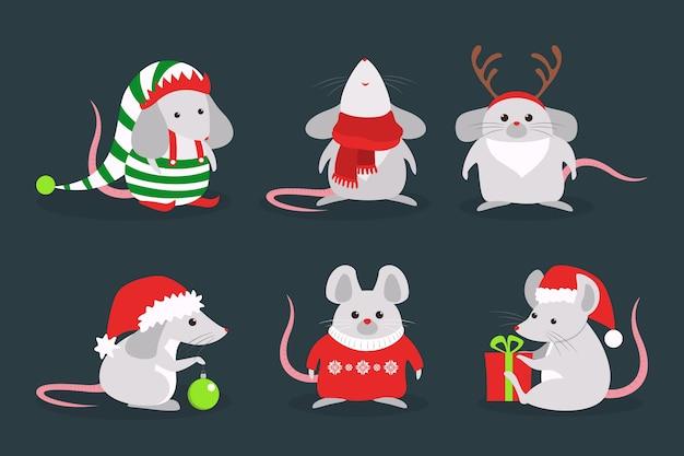 Insieme sveglio del ratto di natale. carattere animale in cappello di babbo natale. 2020 anno del topo. illustrazione in stile
