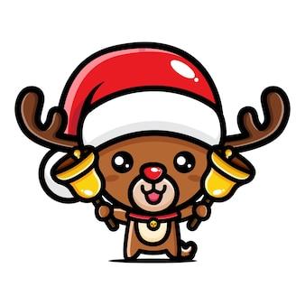 Simpatiche renne di natale festeggiano il natale