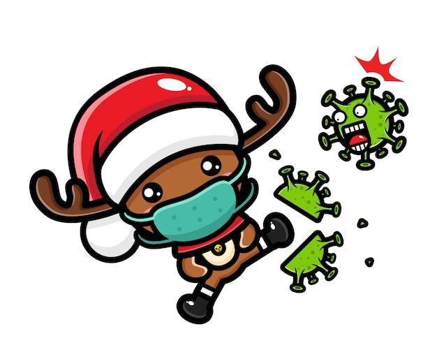 Simpatiche renne natalizie che prendono a calci un virus