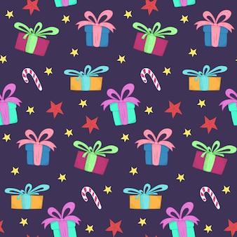 Modello senza cuciture di natale carino con scatole regalo luminose, caramelle e stelle di doodle