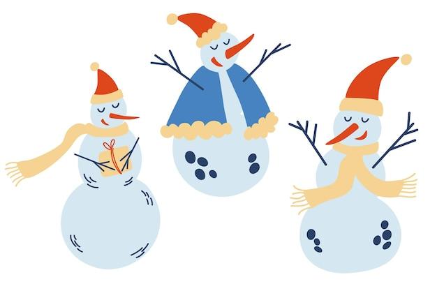 Simpatica collezione di pupazzi di neve di natale. pupazzi di neve divertenti in diverse pose cappelli e sciarpe. modello di capodanno per il design su un tema natalizio. illustrazione di inverno di vettore.