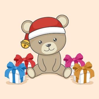 Simpatico orsacchiotto di natale e confezione regalo