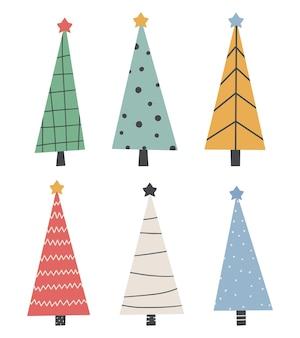 Set di simpatici alberi di natale - disegno infantile disegnato a mano.